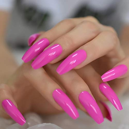 EDA LUXURY BEAUTY PINK NEON GLAMOROUS DESIGN Full Cover Press On Gel Glitter Artificial Nail Tips Acrylic Shiny Extreme False Nails Extra Long Ballerina Ballet Coffin Square Super Fashion False Nails