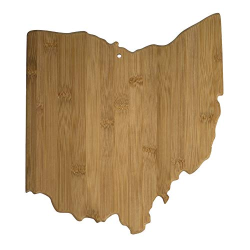 Totally Bamboo 20-7956OH Ohio State Shaped Bamboo Serving & Cutting Board,