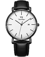 Vigor Rigger unisexe ultra mince montre-bracelet à quartz analogique cadran avec calendrier bracelet en cuir de veau cristal minéral