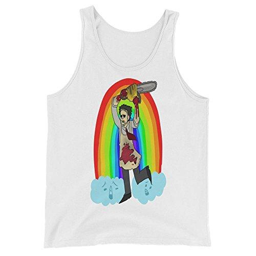 Leatherface Texas Chainsaw Massacre Rainbow Unicorn Halloween Funny Horror Film Cool Movies Printed Designs Wardrobe Tank (Saw Outfit Halloween)