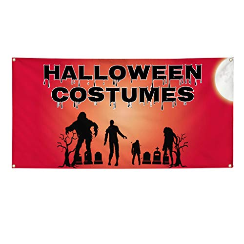 (Vinyl Banner Sign Halloween Costumes #1 Style E Outdoor Marketing Advertising Red - 60inx144in (Multiple Sizes Available), 10 Grommets, Set of)