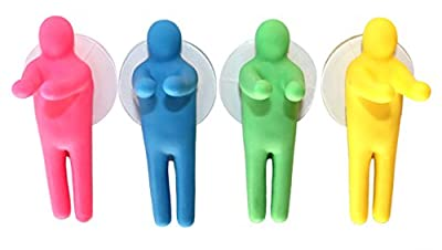 Lucore Colorful People Toothbrush Holder & Utility Suction Hook - Set of 4 Pcs