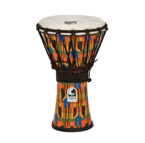 Toca SFDJ-7K Freestyle Rope Tuned 7-Inch Djembe - Kente Cloth by Toca
