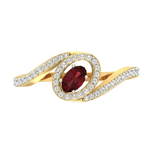 14K jaune Or 0,27carat Diamant Taille ronde (IJ | SI) Rubis et diamant Bague