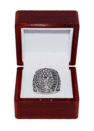 DALLAS COWBOYS (Troy Aikman) 1992 SUPER BOWL XXVII WORLD CHAMPIONS (Vs. Buffalo Bills) Vintage Rare & Collectible Replica NFL Silver Championship Ring with Cherrywood Display Box