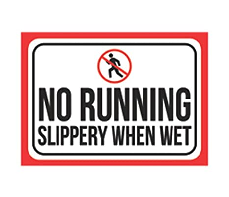 Amazon.com: No Running Slippery When Wet Print Foto en ...
