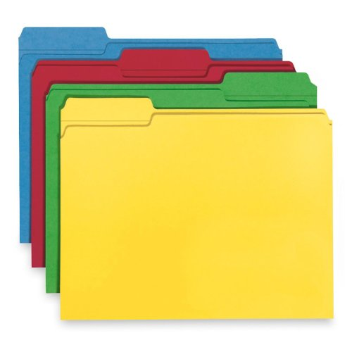 Smead 100% Recycled File Folder, Reinforced 1/3-Cut Tab, Letter Size, Assorted Colors, 100 per Box ()