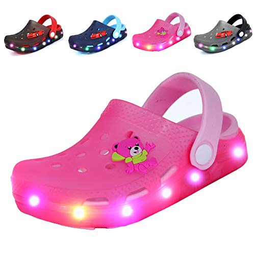 Nishiguang Kids Cute LED Flash Lighted Garden Shoes Clogs Sandals Children Boys Girls Toddlers Summer Breathable Slippers Pink 27]()