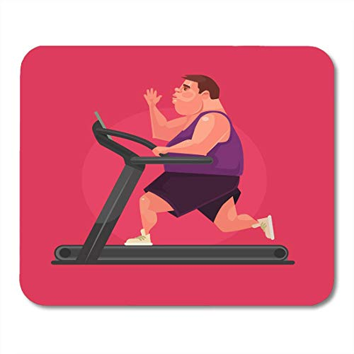 Mouse Pads Runner Sport Fat Man Character Running Fast on Treadmill Flat Cartoon Overweight Obesity Mouse Pad for Notebooks,Desktop Computers Mouse Mats, Office Supplies