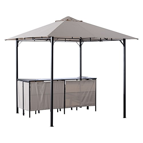 Outsunny 8#039 x 8#039 Outdoor Covered Bar Gazebo Set w/Barstools