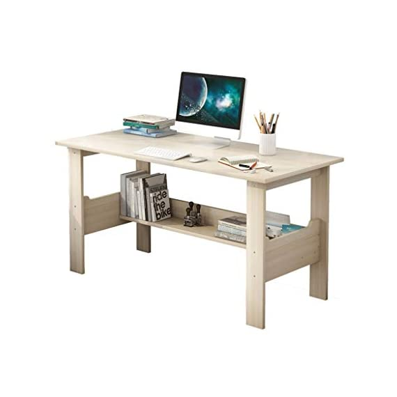 """Computer Desk with One-Tier Storage Shelves, Modern Large Office Desk Computer Table Studying Writing Desk Workstation with Bookshelf and Tower Shelf for Home Office (White) - Fast shipping: You will receive the product in 3 - 5 days after you purchase. Package will be shipped from East Coast Area or West Coast Area By FedEx & DHL.The biggest two of our warehouses are located in Orlando and Los Angeles. Large Desktop: L*39.4 x W*17.7 x H*28.3 inches(100x45x72CM),the computer desk has strictly quality checking before packaged.It's extremely sturdy and easy to clean, rag cleaning is enough SUPER DURABLE & STABLE: 0.85"""" thick MDF board is water & dust resistant and easy to clean. Foot pads not only can be used in uneven ground to prevent scratches, strengthen the stability, but also make adjustment of height to meet your various demands. - writing-desks, living-room-furniture, living-room - 418KdKZvEAL. SS570  -"""