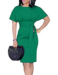 Womens Work Pencil Midi Dress Casual Summer Short Sleeve Party Dresses with  Belt deb184f23e79