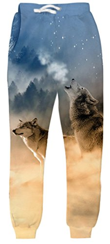 Uideazone Juniors 3D Printed Graphic Wolf Sweatpants Running