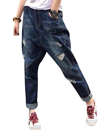 Pantalones Harem Vaqueros Rotos Pantalones Youlee Bolsillos Azul con Mujeres vUnBq1wf