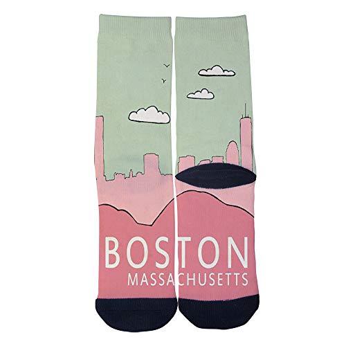 Mens Womens Casual Boston in Pink Modern Travel City Poster Socks Crazy Custom Socks Creative Personality Crew Socks -