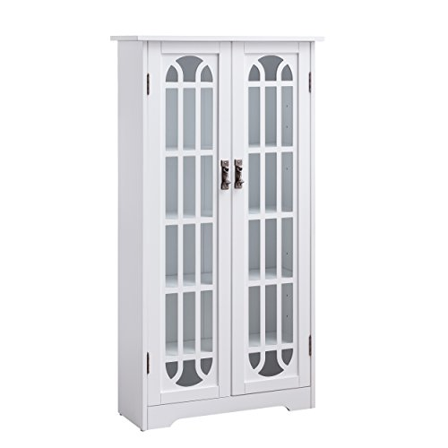 Furniture HotSpot Window Pane Media Cabinet White Display Center
