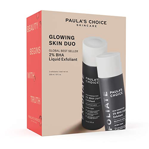 Paula's Choice Limited Edition Glowing Skin Duo - Skin Perfecting 2% BHA Liquid Salicylic Acid Facial Exfoliant Set for Blackheads, Large Pores & Wrinkles - Kit Includes 2 Full Size Bottles