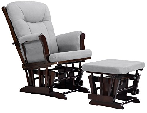 Great Deal! Angel Line Monterey Glider and Ottoman Cushion, Espresso/Grey