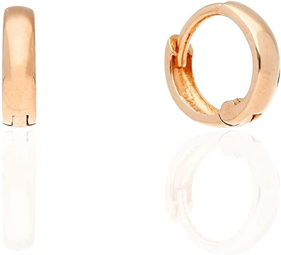 14k Gold Plain Squared Hoop Earrings 12mm Yellow Gold Rose Gold /& White Gold