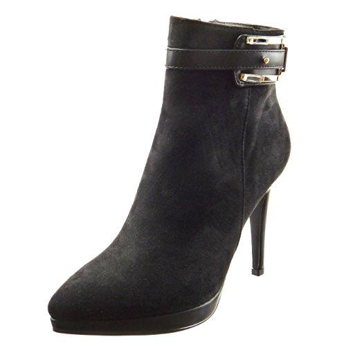 Sopily - damen Mode Schuhe Stiefeletten Plateauschuhe Schleife Schmuck - Schwarz