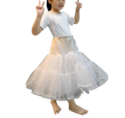 B&H Bridal Hoopless Crinoline Petticoat Underskirt with Tulle for Flower Girl (Medium)