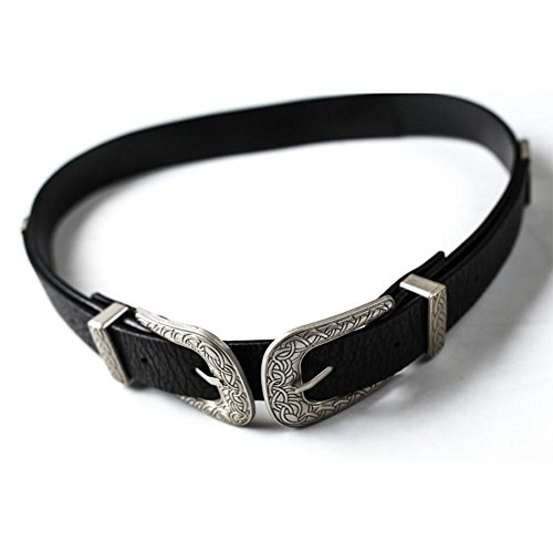 ZAFUL Women's Fashion Vintage Double Metal Buckle Designer Belt Solid - Designer Belts Vintage