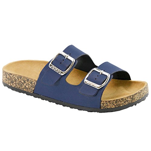 Cork Footbed Sandals (Women's Casual Buckle Double Strap Platform Footbed Flat Sandals)