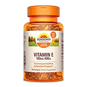 Gut Health Shop 418Kg0gvdoL._SS300_ Sundown Vitamin E for Immune Support, Gluten-Free, Dairy-Free, Non-GMO, 180mg 400IU Softgels, 100 Count, 3 Month Supply