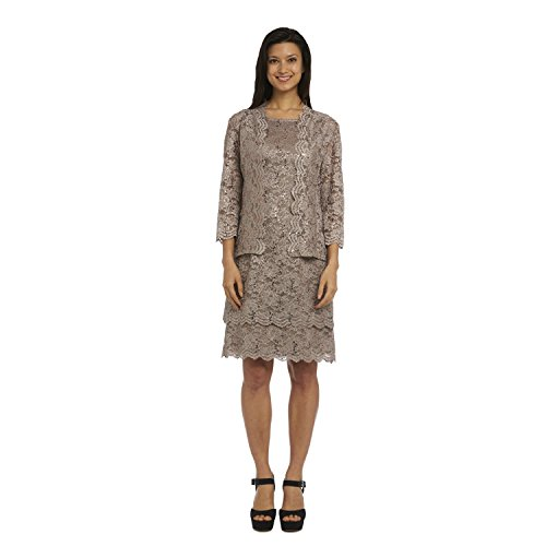 R&M Richards Lace Short Mother of The Bride Dress Champagne Formal with Jacket