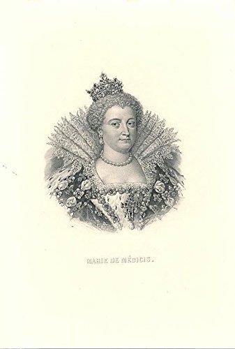 marie-de-medici-queen-of-france-c1850-fine-antique-historical-portrait