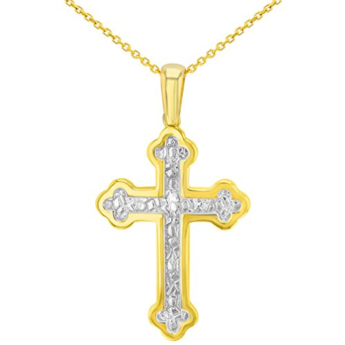 14K Yellow Gold Elegant Eastern Orthodox Cross Pendant Necklace, - 14k Byzantine Cross