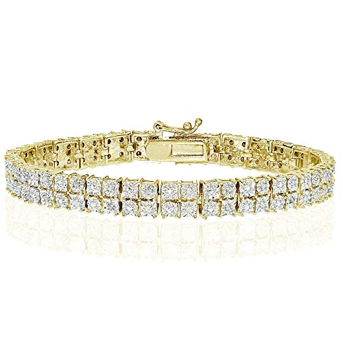 - Yellow Gold Flashed Brass Polished Double Band Square Diamond Accent Tennis Bracelet, JK-I3