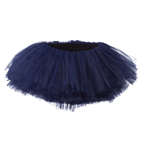 My Lello Little Girls 10-Layer Short Ballet Tulle Tutu Skirt (4 mo. - 3T) -Navy