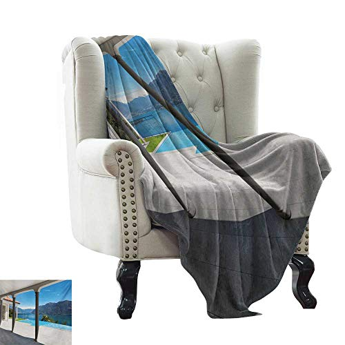 (BelleAckerman Throw Blanket for Couch Italian,Lake Maggiore View from The Terrace Balcony of House with Pool Art,Turquoise Grey and White Winter Luxury Plush Microfiber Fabric 60