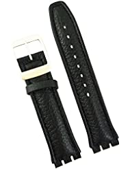 New 19mm (22mm) Sized Genuine Leather Strap Compatible for Swatch® Watch - Black - 400AA22