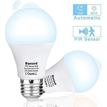 2Pack Auto On Off Motion Sensor LED Light, Banord 12W(100 watt Incandescent Bulb Equivalent) E26 PIR Motion Sensing Activated LED Bulb,6000K Daylight A19 ...