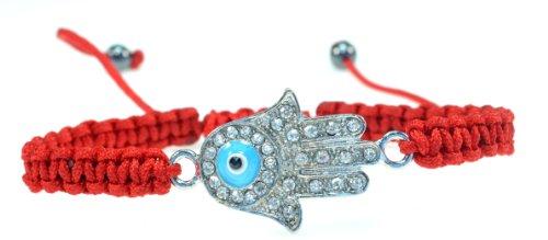 Silvertone Crystal Handmade String Bracelet