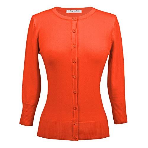 YEMAK Women's Crewneck Button Down Knit Cardigan Sweater Vintage Inspired,Fiesta,Large