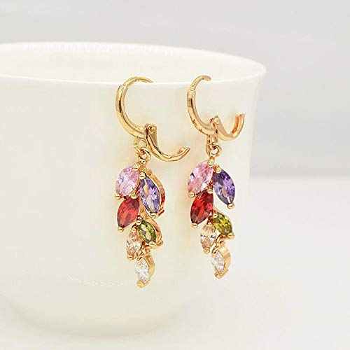 HCBYJ earring Colorful Gold Earrings CZ Stone Jewelry Womens Party