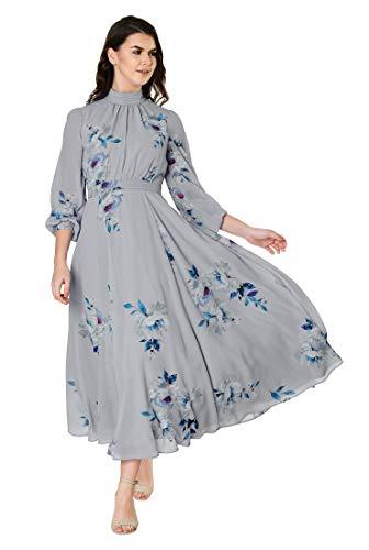 - eShakti FX Ruched Floral Print Crepe midi Dress Lilac Multi