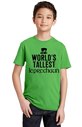 Promotion & Beyond World's Tallest Leprechaun (Black) Youth T-Shirt, Youth M, Green