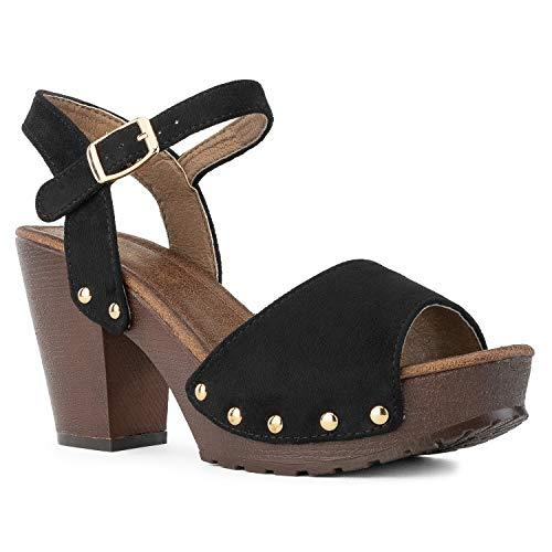 RF ROOM OF FASHION Women's Peep Toe Platform Chunky Heel Mule Sandals Black Size.6