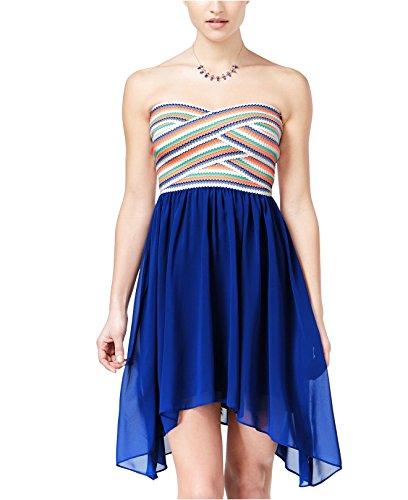 Bee Darlin B Darlin Junior's Strapless Asymmetrical-Hem Fit & Flare Dress Blue 3/4