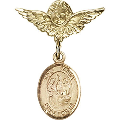 Gold Filled Baby Badge with Holy Family Charm and Angel w/Wings Badge Pin 1 X 3/4 inches by Unknown