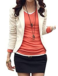 CFD Womens Bodycon Solid Color One Button Blazer Jackets