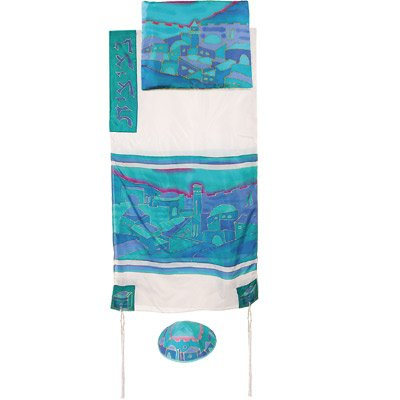 Tallit Prayer Shawl Gadol + Bag + Kippah + Atara Set - Yair Emanuel HAND PAINTED SILK JERUSALEM VISTA BLUE WHITE (Bundle)