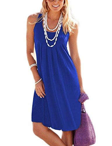Traleubie Women's Casual Summer Tank Sleeveless Knee Length Vest Pleated Sun Dresses Royal Blue L (Blue Dress Summer)