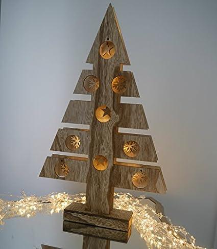 Albero Di Natale Shabby In Legno.Grande 48cm Illuminare Funziona A Batterie Legno Rustico Tavolo Albero Di Natale Con Le Stelle E Fiocchi Di Neve E Bianco Caldo Led Lampade Shabby