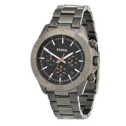 Fossil Men's CH2864 Retro Traveler Chronograph Stainless Steel Smoke Bracelet Watch, Watch Central