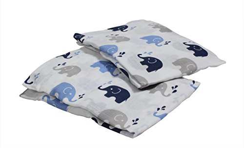 Bacati 2 Piece Elephants Muslin Crib Sheets, Blue/Grey